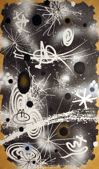"Gordon Onslow Ford, VOYAGERS IN SPACE, 1971, acrylic/canvas, 79 1/2"" x 47 1/4"", Collection of the Crocker Museum."