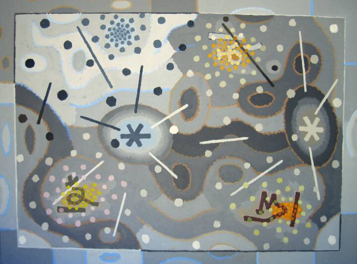 """Gordon Onslow Ford, IN PLAY, 1973, acrylic/canvas, 72"""" x 96"""", Gordon Onslow Ford Collection, Lucid Art Foundation"""