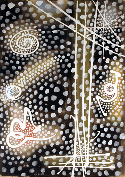 "Gordon Onslow Ford, SPIRIT PINE, 1980, acrylic/paper, 29 3/4"" x 21"", Collection of Lucid Art Foundation."