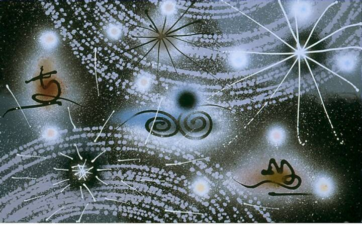 """Gordon Onslow Ford, WEB OF LIFE, 1992, acrylic/canvas, 38"""" x 60 1/2"""", Gordon Onslow Ford Collection, Lucid Art Foundation"""