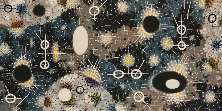 "Gordon Onslow Ford, SPRING OF NIGHT AND DAY, 1999, acrylic/paper, 36 1/2"" x 71 1/2"", Private Collection."