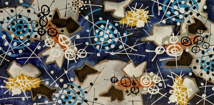 "Gordon Onslow Ford, WITHIN WITHIN, 2000, acrylic/paper/linen, 35 1/2"" x 71 1/4"", Collection of Lucid Art Foundation."