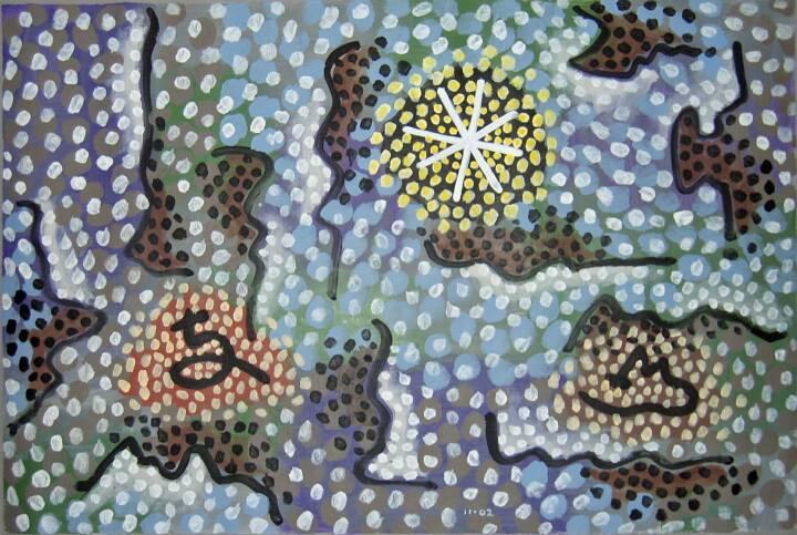 "Gordon Onslow Ford, RISING JOY, 2002, acrylic/paper/linen, 74 1/4"" x 38 1/4"", Gordon Onslow Ford Collection, Lucid Art Foundation"
