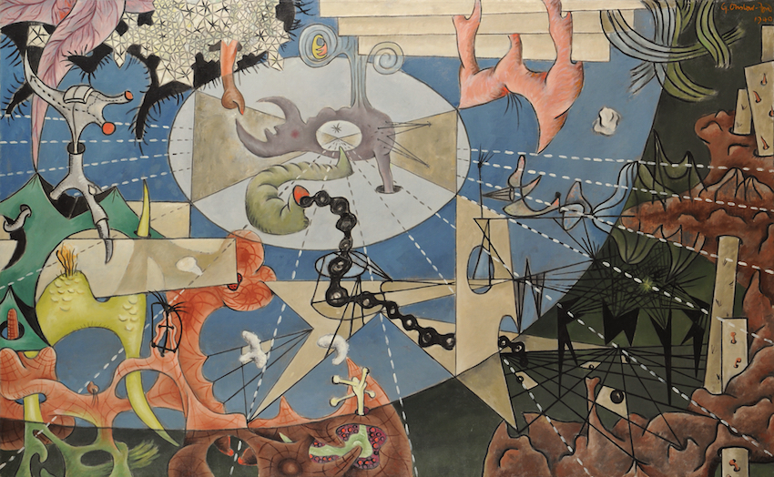 "Gordon Onslow Ford,  Propaganda for Love,  1940, oil/canvas, 41 1/4"" x 66 1/2"", Gordon Onslow Ford Collection, Lucid Art Foundation"