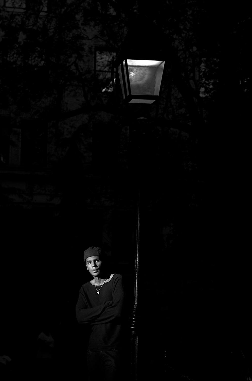 Noir Streetlight Portrait, Washington Square Park
