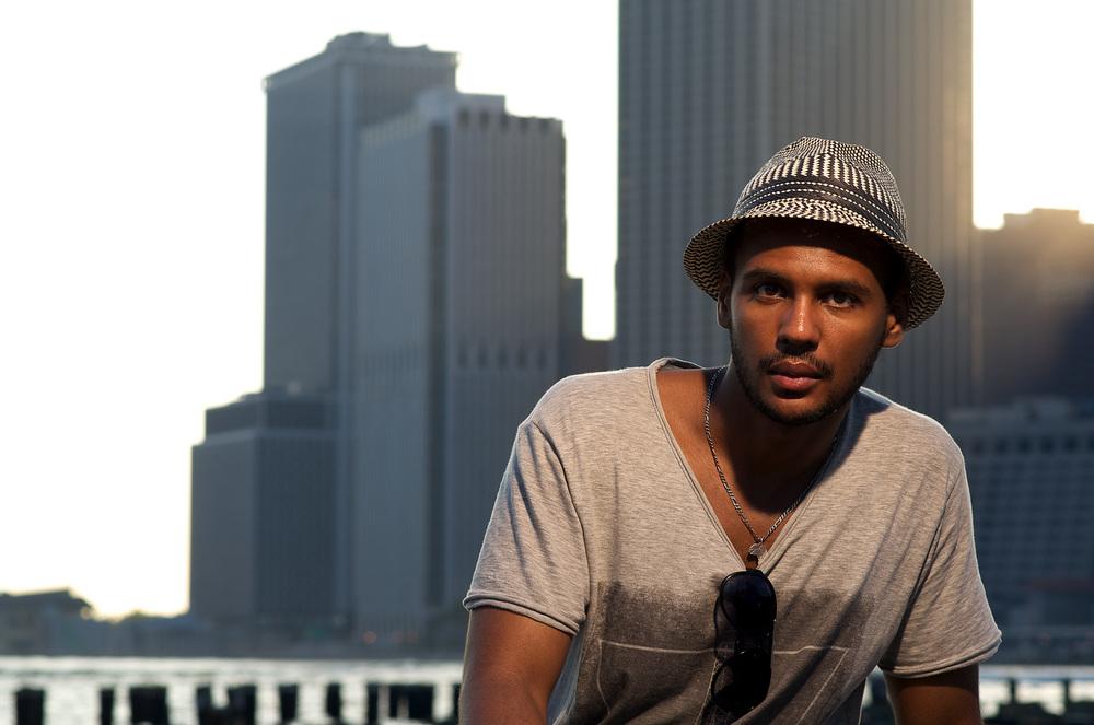 Environmental Portrait, Mehdi, Lower Manhattan Skyline