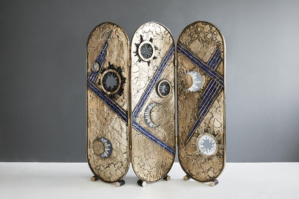 """VANITY SCREEN , 2017  Lost Wax Bronze, Clear Quartz, Smoky Quartz & Lapis Lazuli  Christopher Boots  69.5"""" H x 70"""" W x 1"""" D  Unique Piece  125000"""