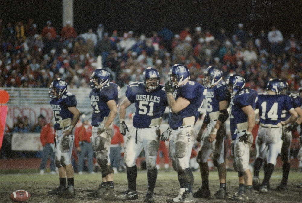 Part of the Stallion front seven - Billy Vasil (45), Scott Smith (53), Grant Bowman (51), John Kelley (76), Matt Stewart (26) and Tom Weilbacher (31)