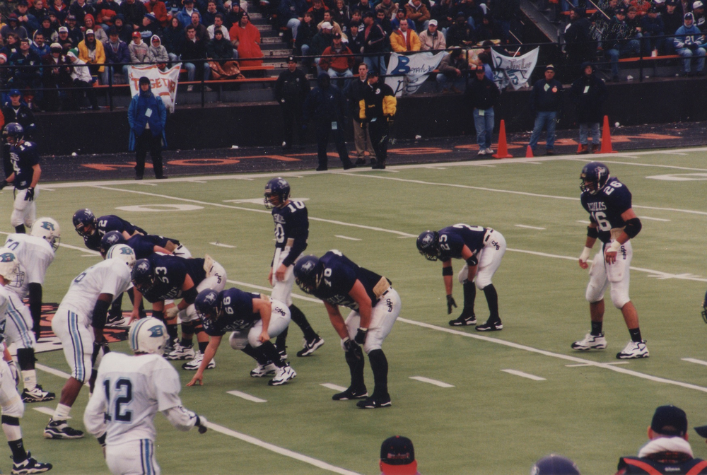 Stallions on offense in the DIII title game