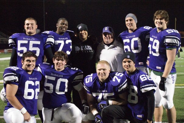 Senior Offensive Lineman with their position coach Tim Bahen (photo credit - Barb Dougherty)