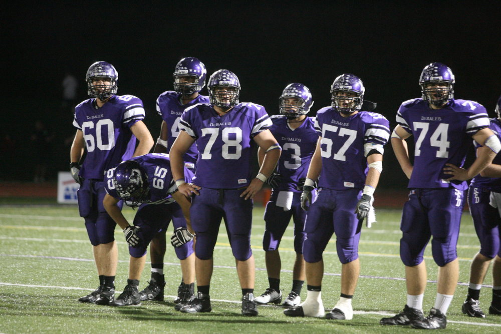 The offensive line (pictured from L to R) of Alex Vance (60), Josh Richmond (65), Jake Smith (78), Greg Dolcich (57) and Matt Ray (74) helped pave the way for a big 2nd half by Josh Kusan (photo credit - Barb Dougherty)
