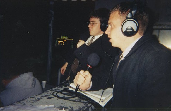 Scott Bacon (left) and Tom Snyder (right) calling a Division-II Regional Final in Welcome Stadium.