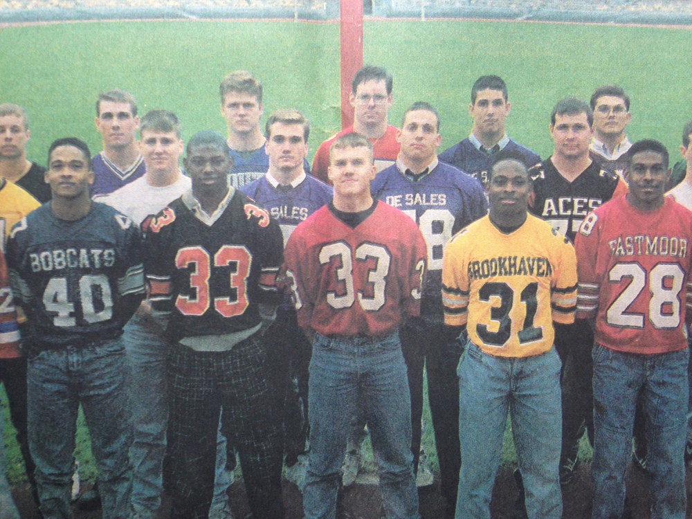 John Callaghan (middle left) and Adam Asbeck (middle right) represented DeSales on the Columbus Dispatch All-Metro Team