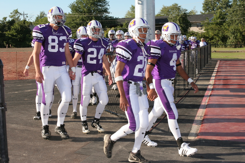 The Stallions take the field before their first game in the renovated Alumni Stadium
