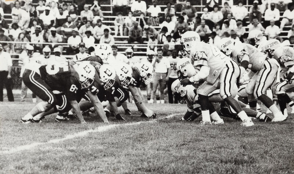 The first Varsity Football game in Alumni Stadium
