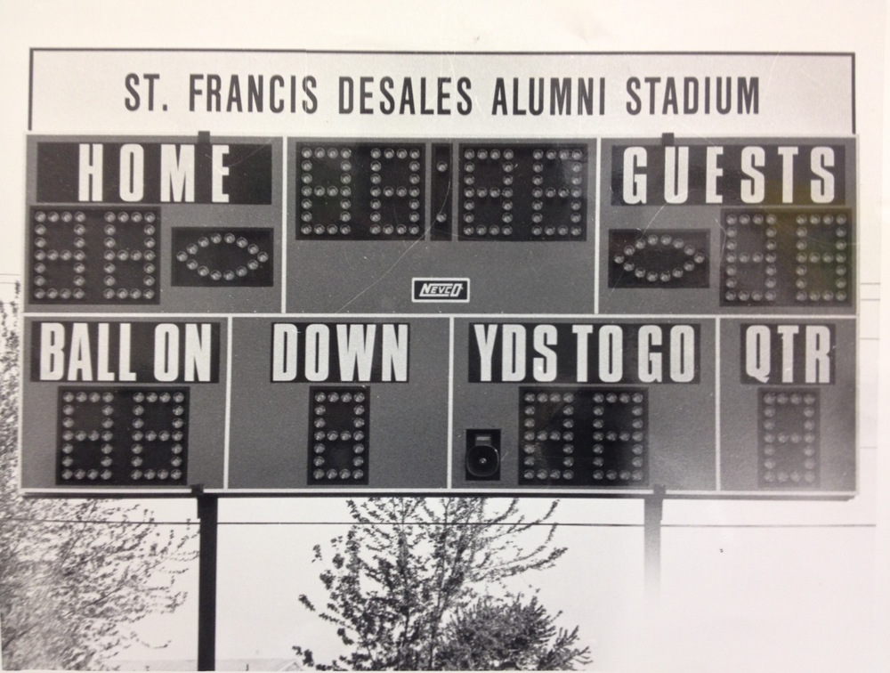 The original scoreboard inside of Alumni Stadium