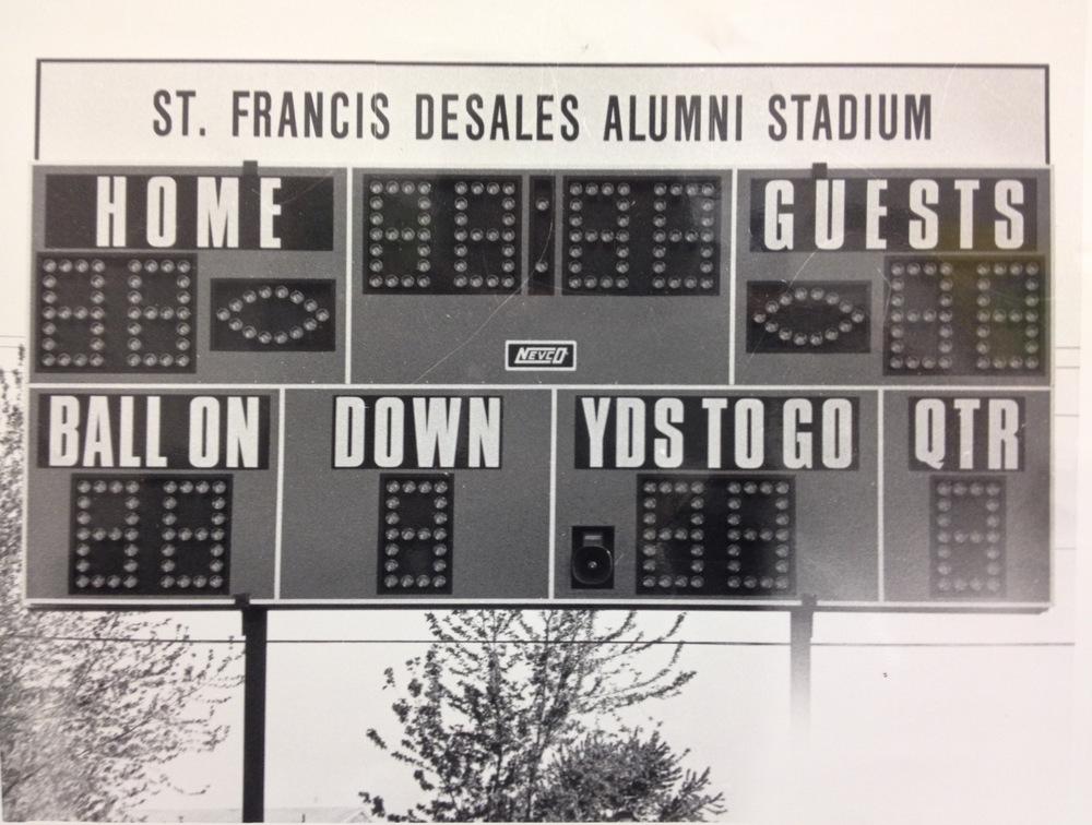 The original scoreboard inside of Alumni Stadium