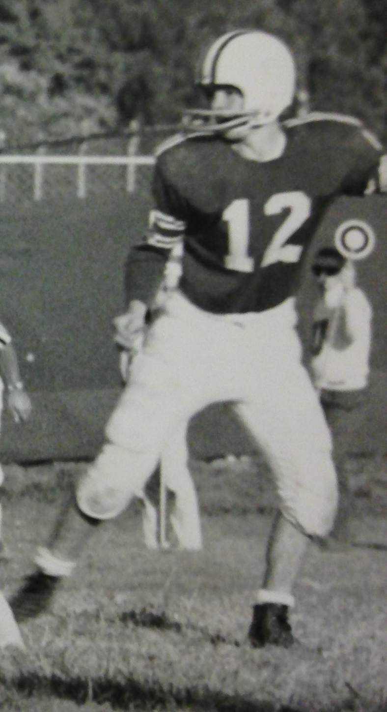 Ken Schneider (#12) in 1963 vs. University High School at OSU Practice Fields