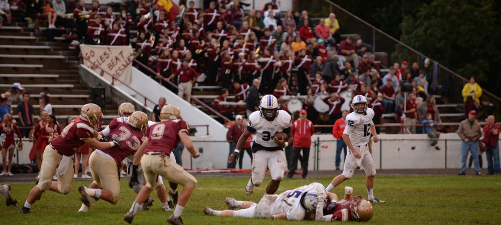 Senior running back Alonzo Booth (34) recorded his second 200-plus rushing yard performance against the Eagles