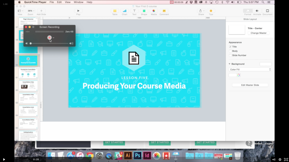 There are several bonus screencasts including this one that shows you how to record your course lessons using Quicktime.