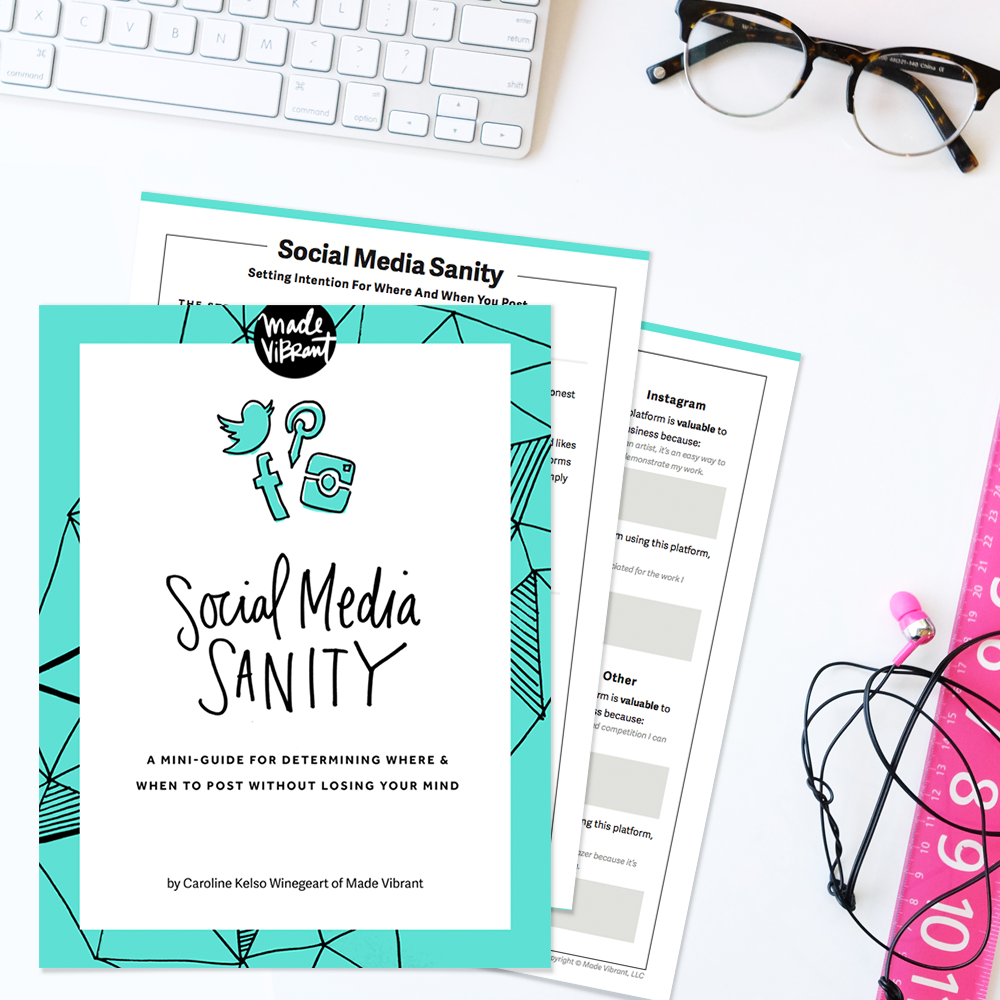 Social Media Sanity: A free interactive guide and worksheet to help you think critically about each social network, considering not just how it can boost your biz but how you feel when you're on it.