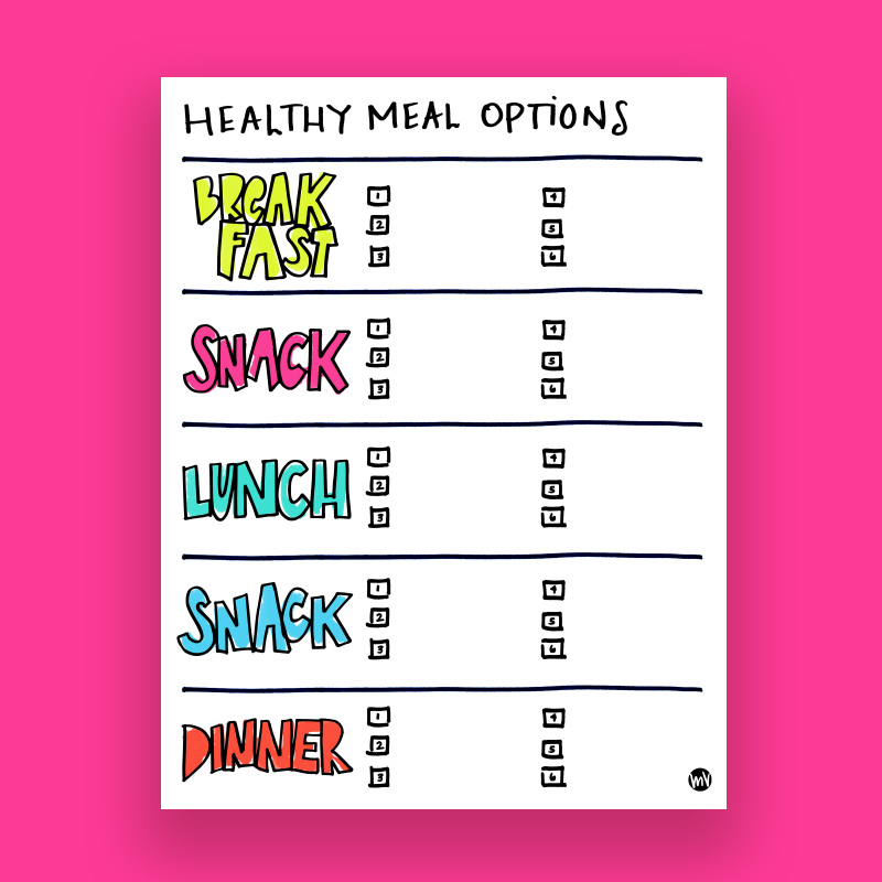 Fit & Fun Health Tracker Worksheets: A free worksheet to help you make healthier choices, meal plan and exercise in a fun and colorful way!