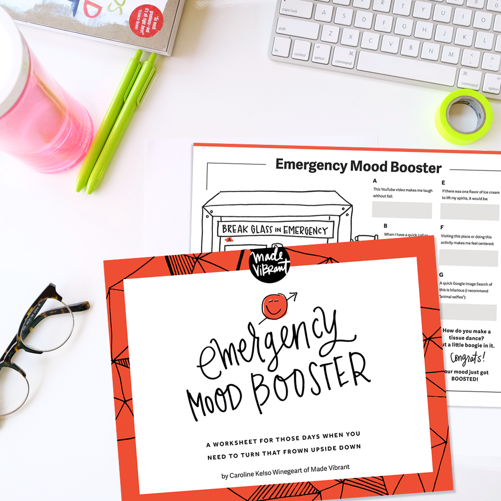 Emergency Mood Booster Worksheet: A free First-Aid Kit of sorts for your soul, for those days when you need a mood booster & reminder of the things that help you beat those awful-est of days.