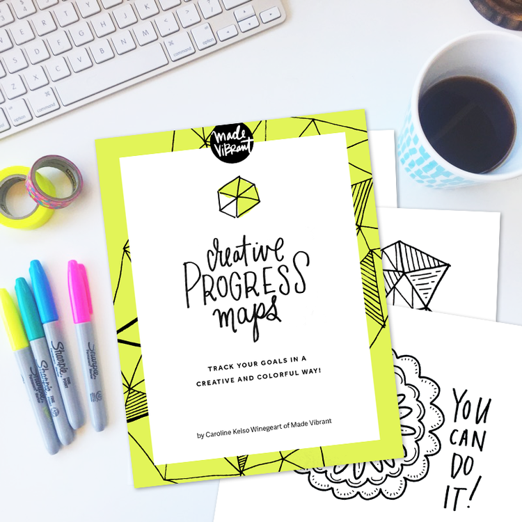 Creative Progress Maps: Free worksheets to keep yourself accountable to goals you've set in a fun and colorful way!