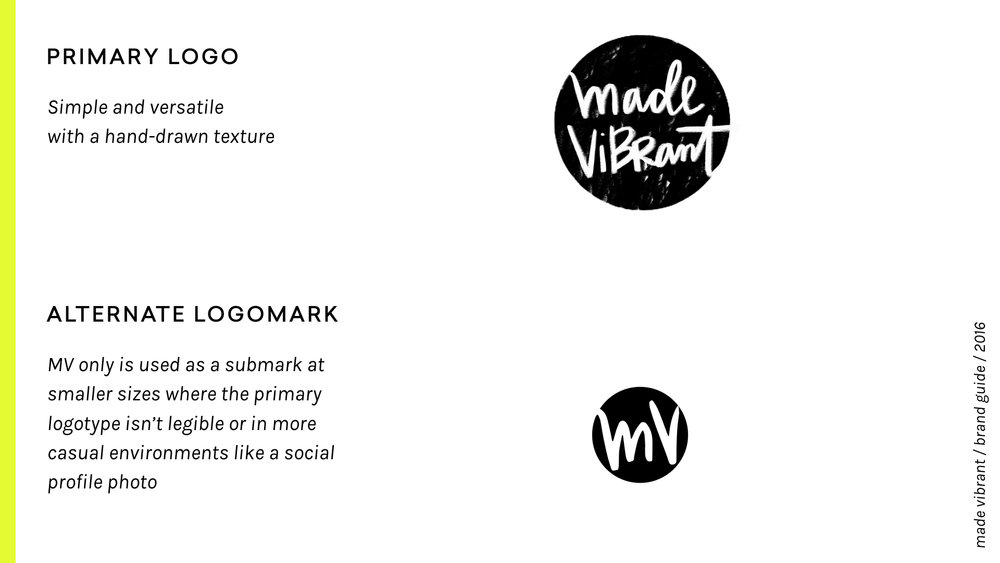 Made Vibrant 3.0 Brand Guidelines / vibrant, approachable, and creative branding / logo and submark