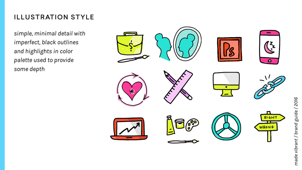 Made Vibrant 3.0 Brand Guidelines / vibrant, approachable, and creative branding / custom icons and illustrations