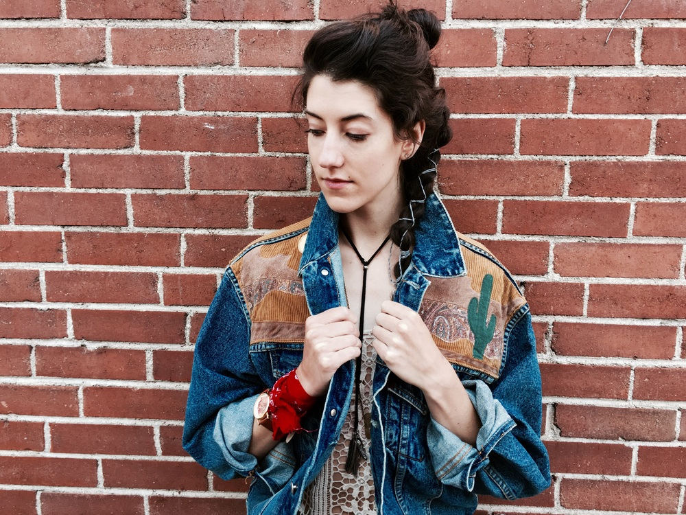 Vintage embellished Jean jacket; $42