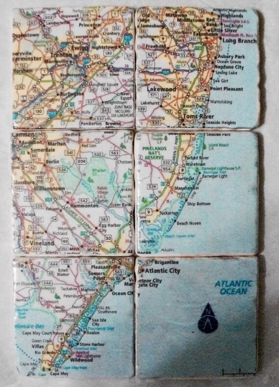 Vintage map coasters; etsy-  CarlaRaeVintage