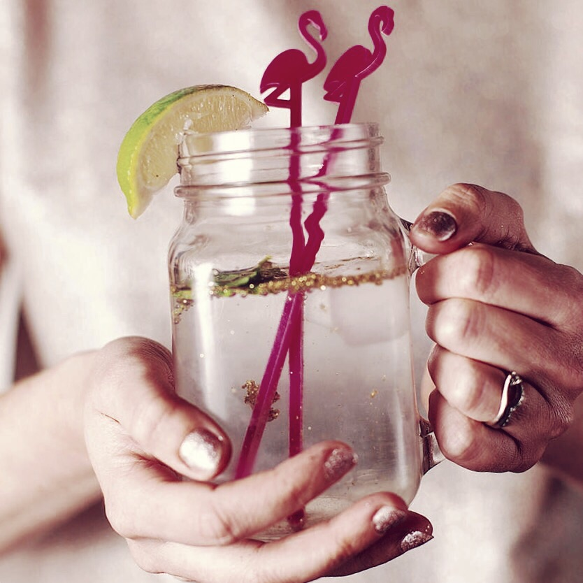 Flamingo cocktail stirrers; etsy-  cloudsandcurrents