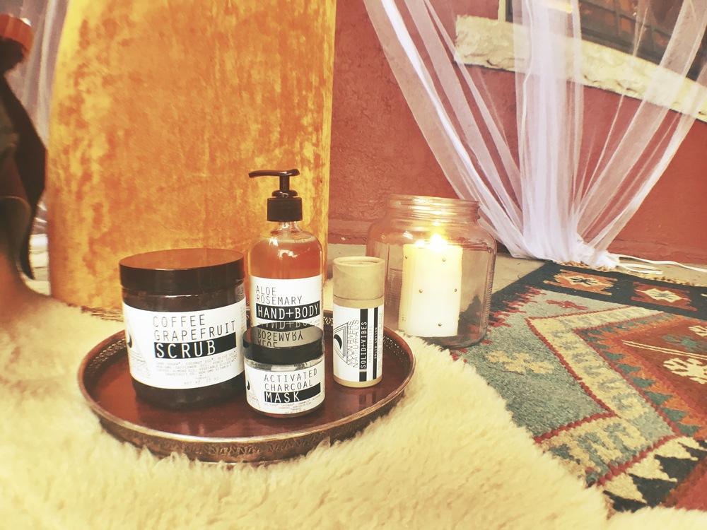 Coffee Grapefruit Scrub; $28 Aloe Rosemary Hand & Body Soap; $22