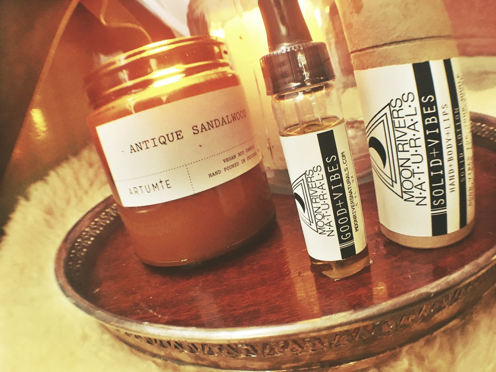 Antique Sandalwood Candle ( Artume ) 9oz $22 Good Vibes Oil; $15 Soild Vibes Hand+body+lips Lotion Stick; $22