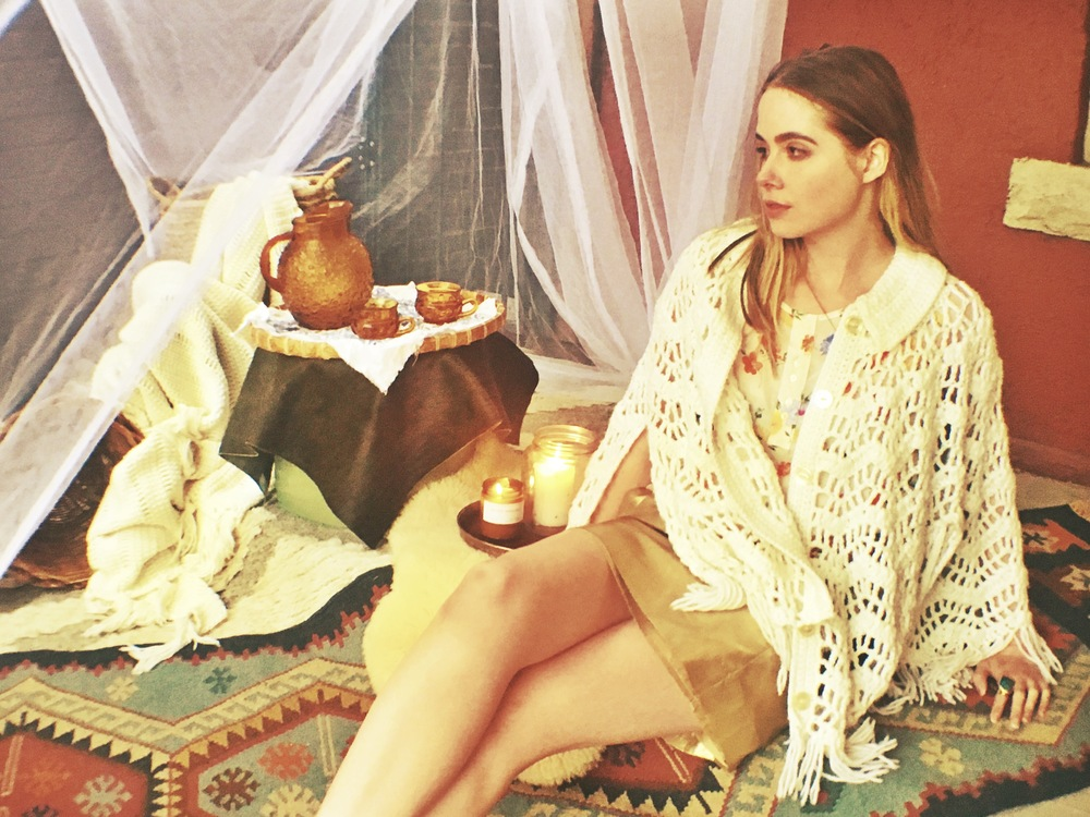 JCrew  gold mini skirt (S); $35 vintage crochet shall; $36 vintage floral silk top (L); $36