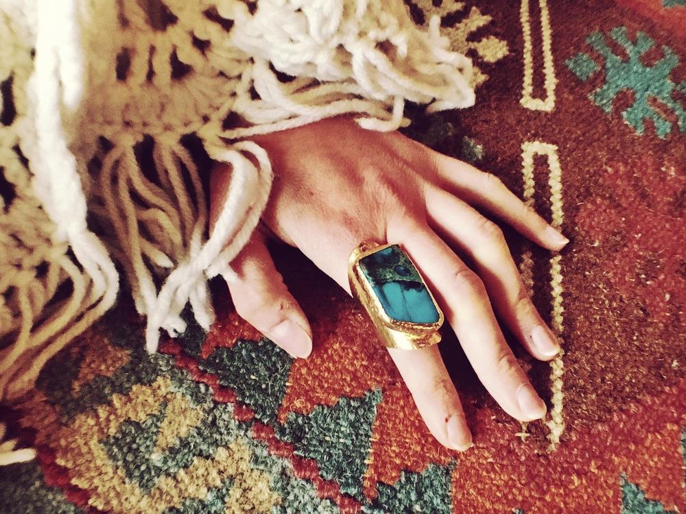 vintage gold indigo ring; $120