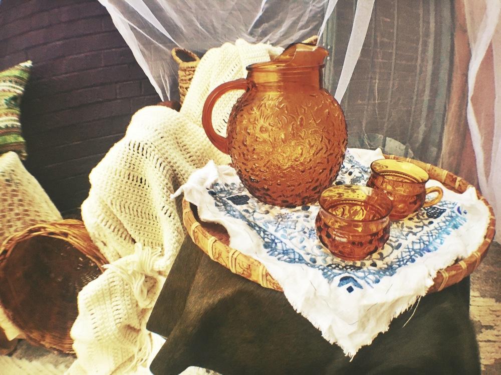 vintage orange tea set; set of 10 for $65