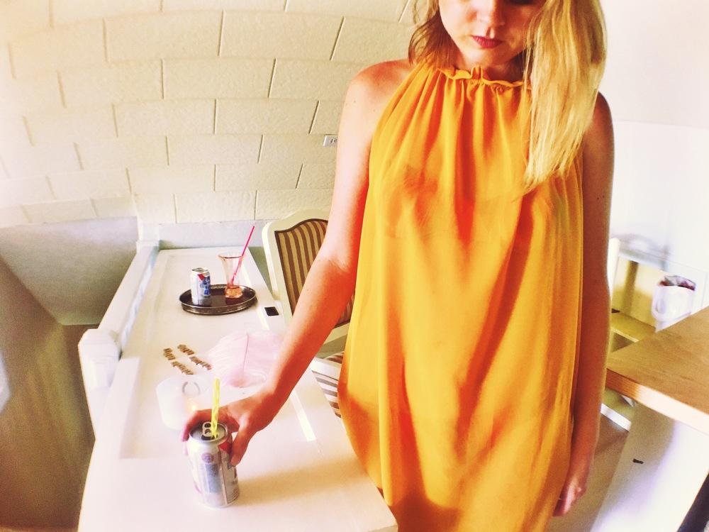 Mustard high collared sheer dress; $24
