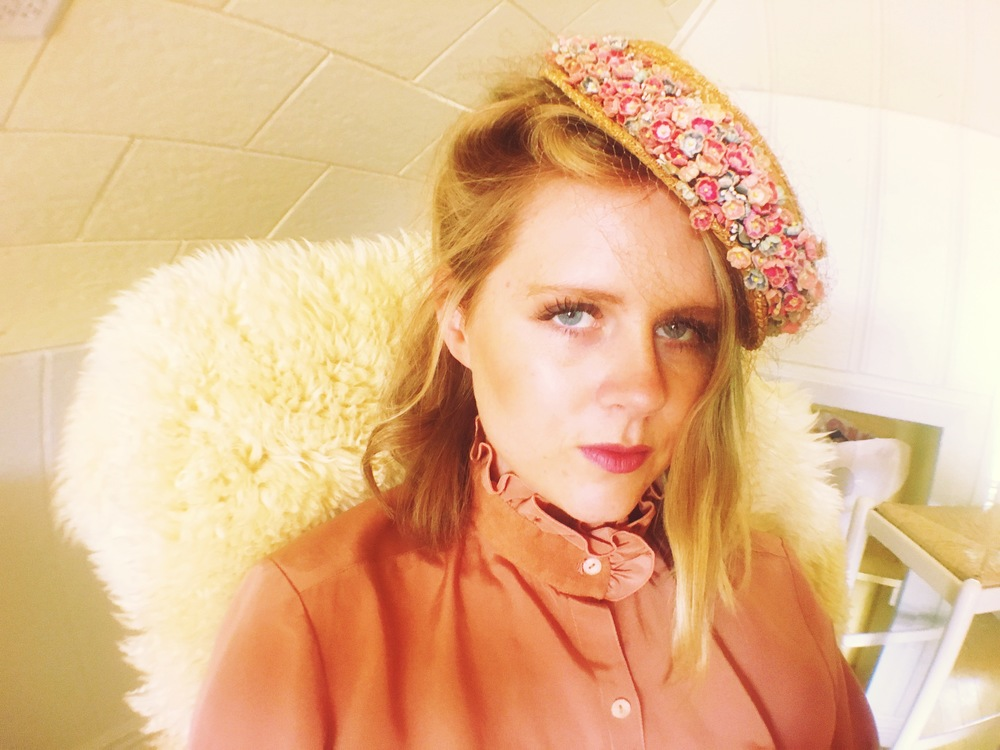 Blush vintage high collared blouse; $26