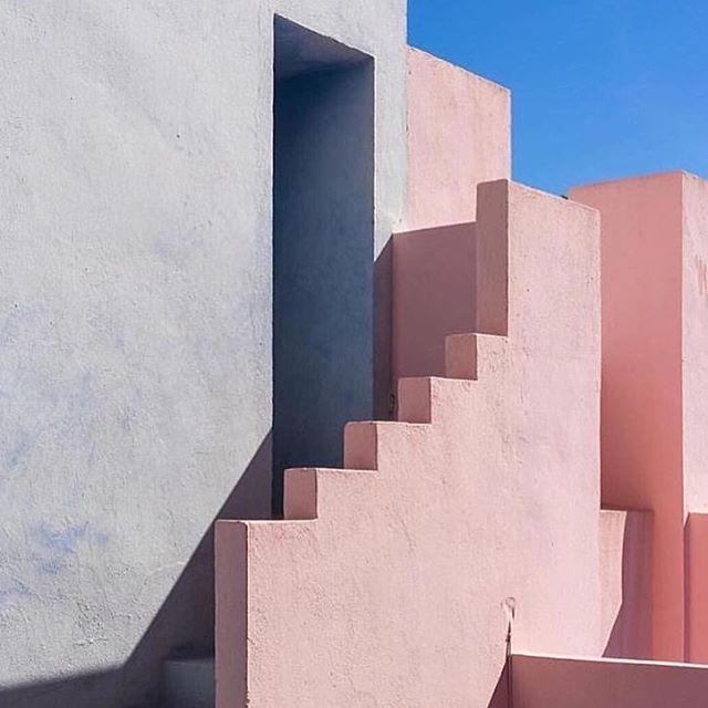 Ultimate #colourpalette inspiration - La Muralla Roja, Spain . . . #pinterestinspired #design #architecture #geometry #blush #grey #blue