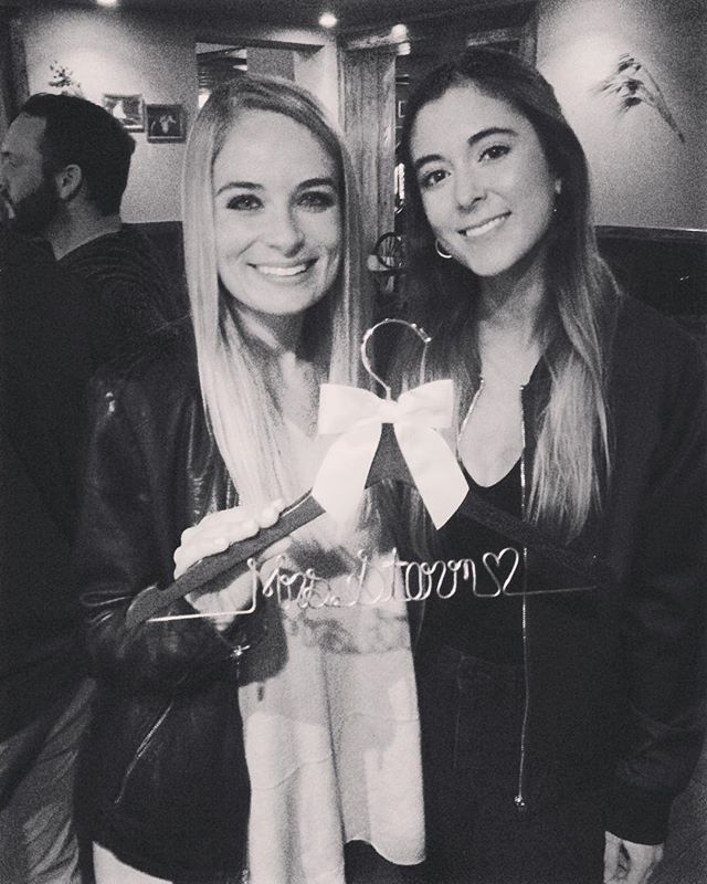 @bchadley is getting married!!!!! 💍💙💙💙 Got her a dress hanger with her soon to be new last name on it cause isn't that what cool friends are supposed to do? Idk #theperfectstorm