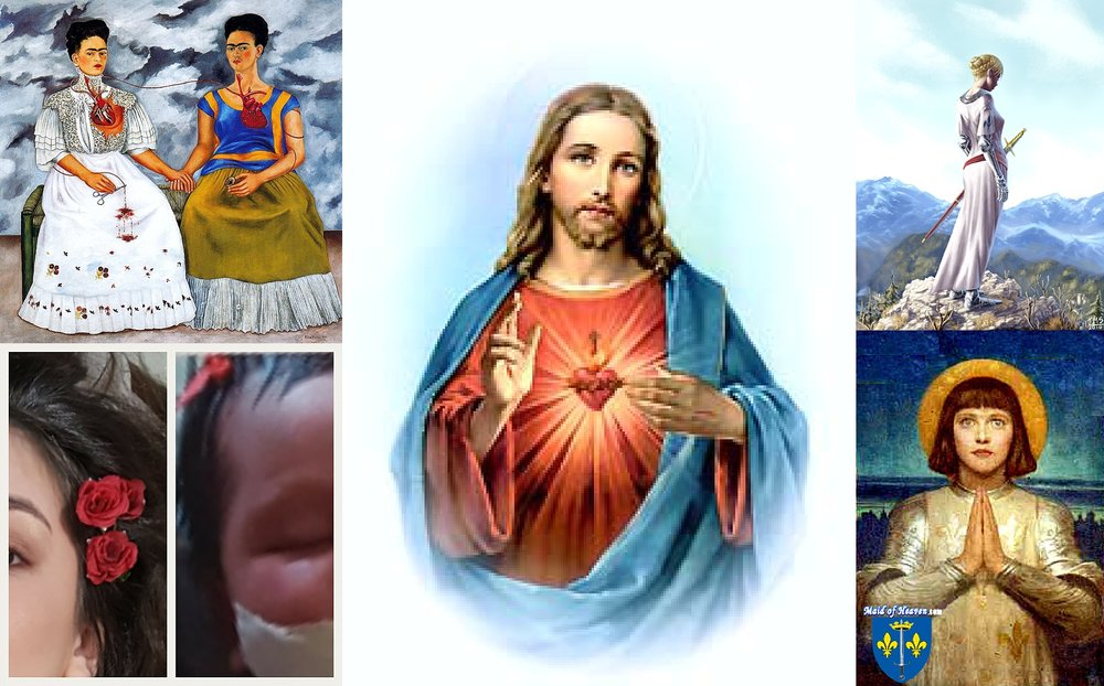 Inspiration Board - Joan of Arc .  Frida Khalo.  Sacred Heart of ChristBirth Details