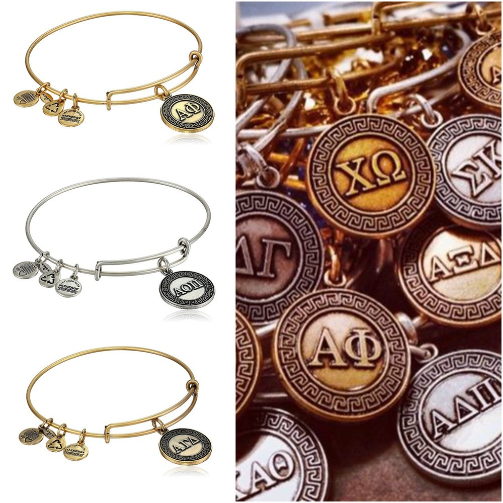 Amazing sorority bangles and where to find them sorority sugar the expandable bracelets come in russian silver and russian gold and they feature a classic greek key design distinctive sorority sparkle biocorpaavc