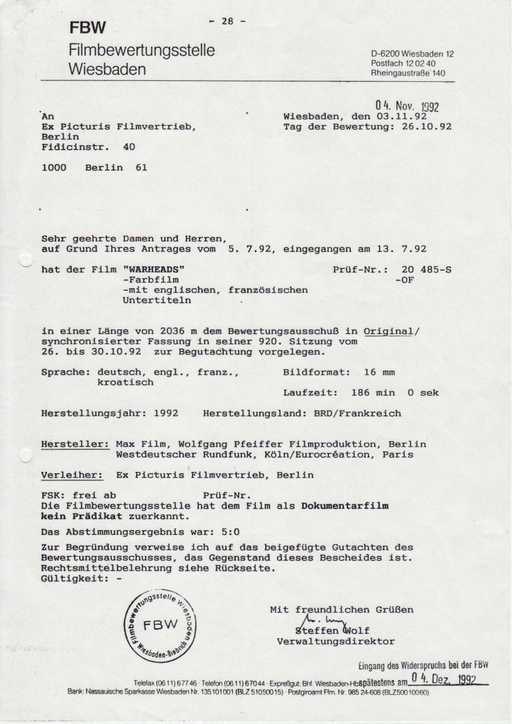FBW - Filmbewertungsstelle Wiesbaden / 1992