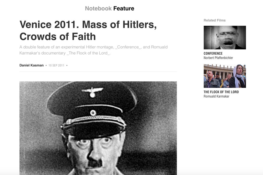 Venice 2011. Mass of Hitlers, Crowds of Faith