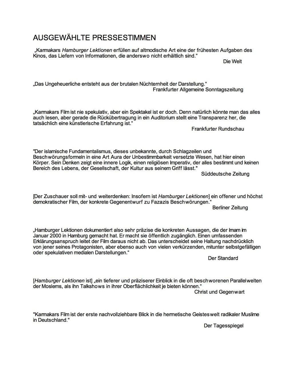 HAMBURGER LEKTIONEN / Ausgewählte Pressestimmen