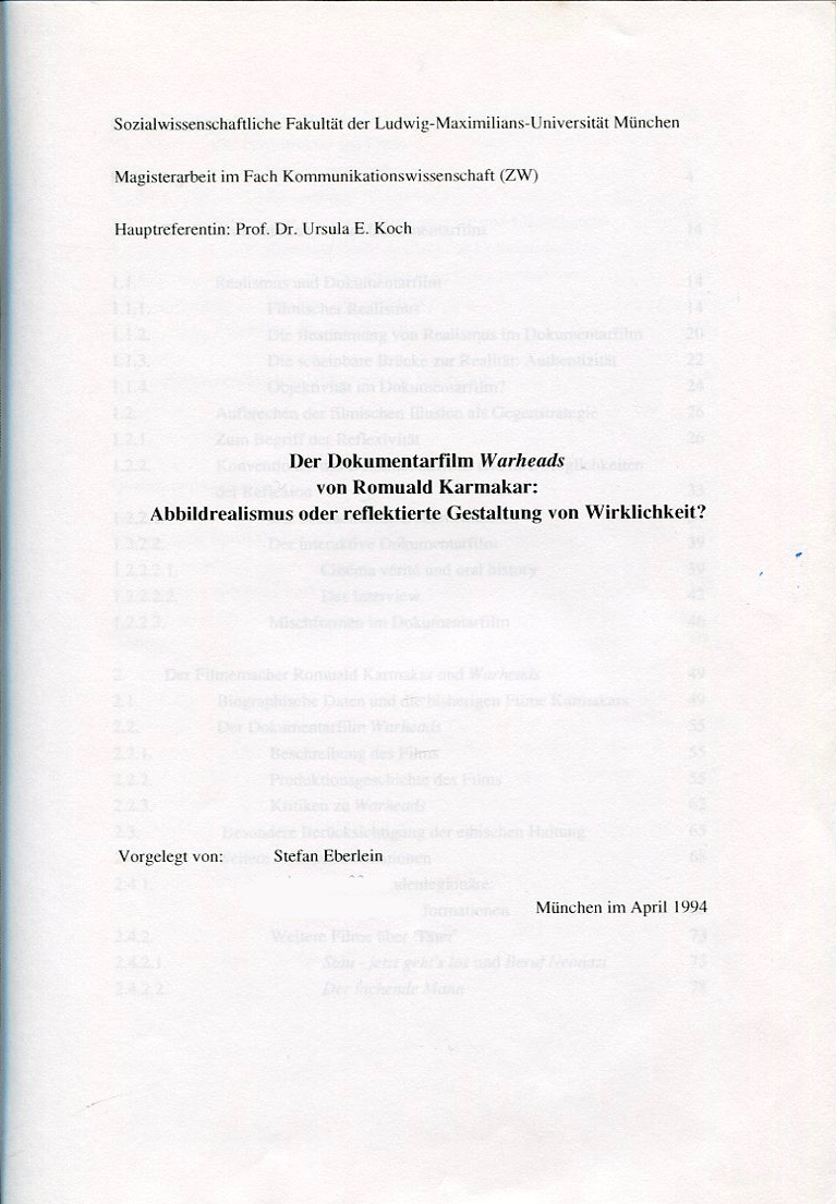 """Der Dokumentarfilm """"Warheads"""" von Romuald Karmakar"""