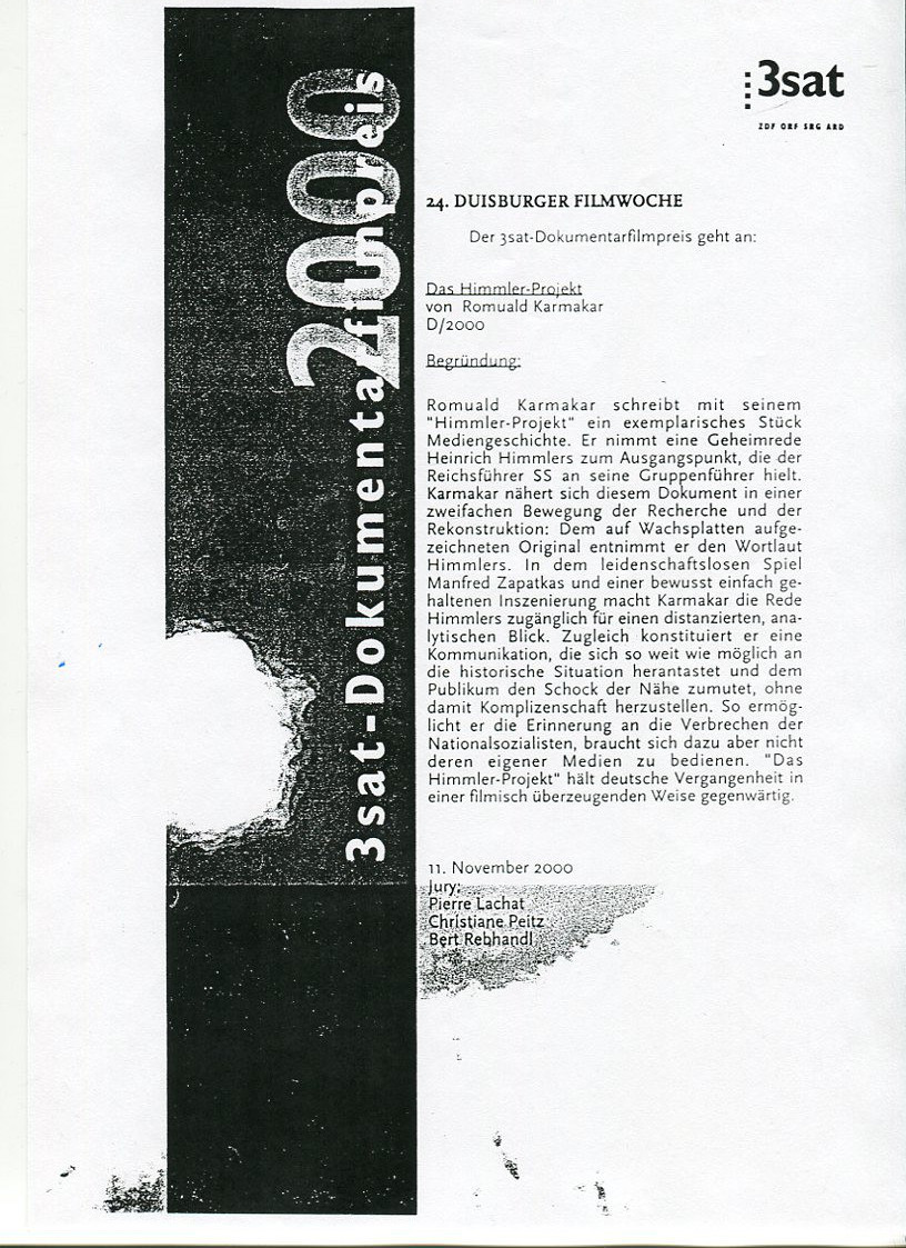 3sat-Dokumentarfilmpreis 2000 / Begründung der Jury