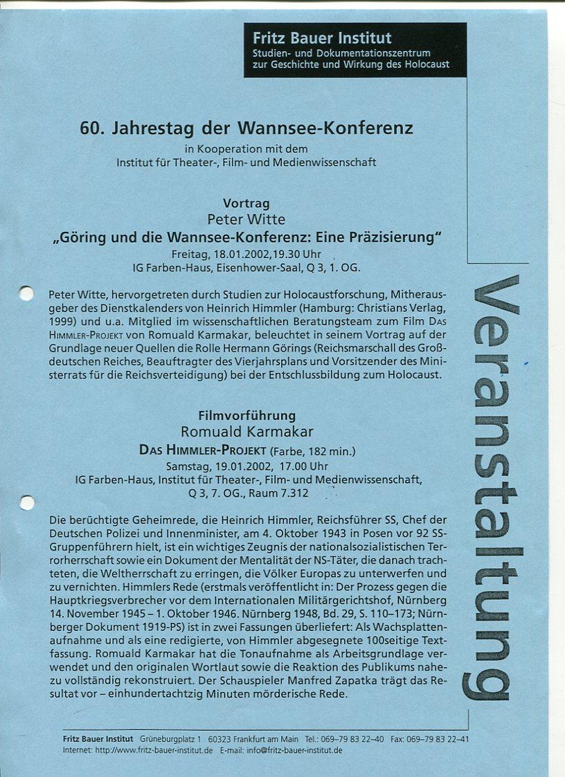 60. Jahrestag der Wannsee-Konferenz